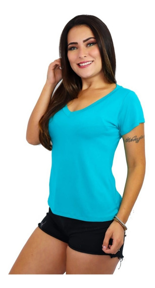 Blusa Camiseta Camisa T Shirt Feminina Básica Gola V Decotada