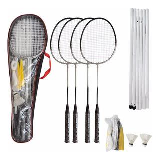 Kit Badminton Pro 4 Raquetes 2 Petecas C/ Rede E Suporte