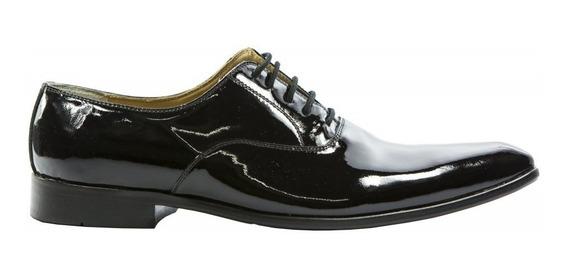 Sapato Masculino Em Verniz Preto Casamento Noivo Luxo Pastor