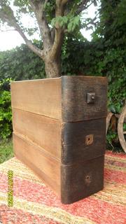 Lote De 3 Antiguos Cajones Máquina Coser Organizador Roble