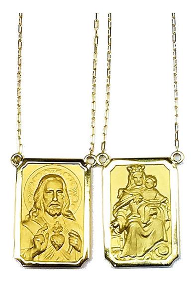 Escapulario Duplo Da Debora Seco Ouro 18 Kilates