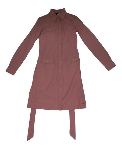 Vestido Con Manga Larga Oxford Shirt Color Rosa 100% Algodón