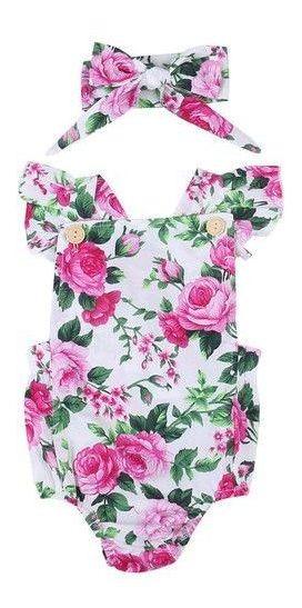 Body Bebe Menina Conjunto Faixa Turbante Kit Mini Diva Rosa