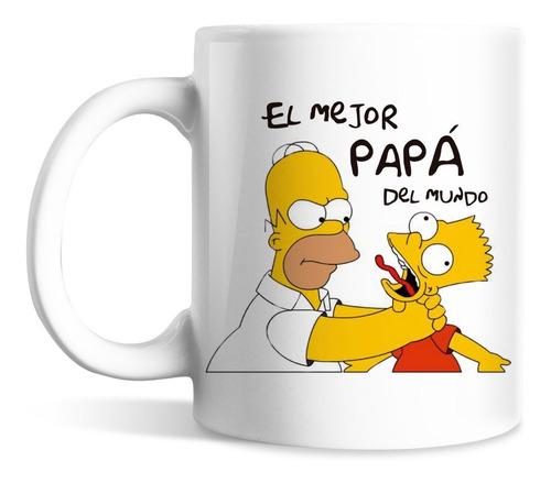 Imagen 1 de 2 de Taza Personalizada Homero Bart Simpson Cerámica Regalo Papa