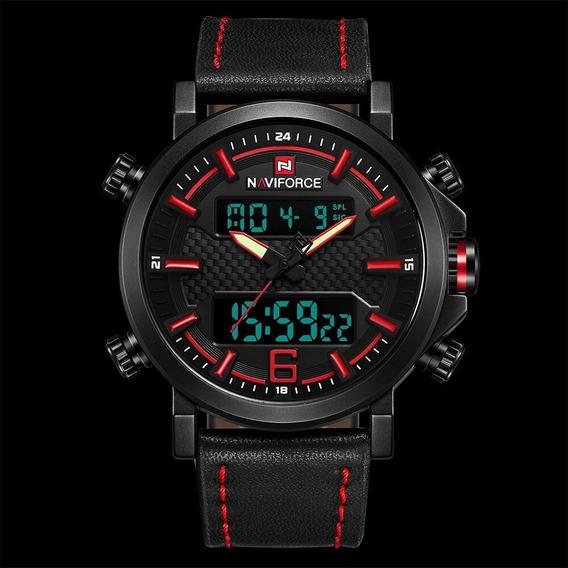 Relógio Naviforce Masculino Pulseira Couro Nf9135 Original