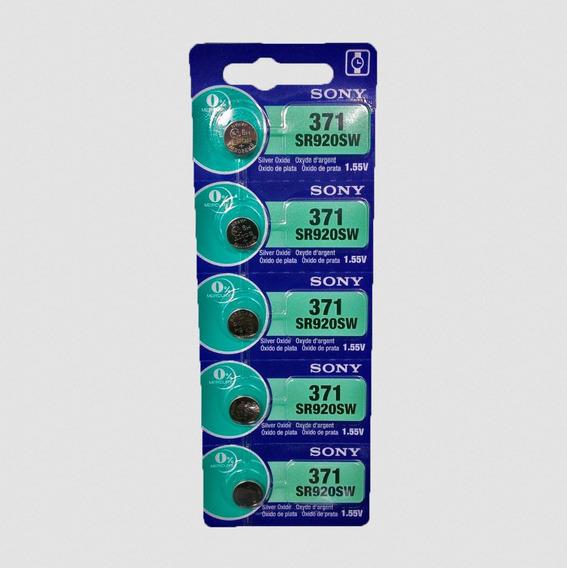 Cartela Com 5 Baterias Original Sony 370 371 Sr920sw 1.55v