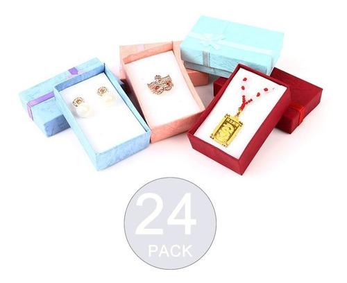 Imagen 1 de 5 de Pack 24 Cajas Carton Joyas Conjuntos Cadenas 8x5cm Regalo