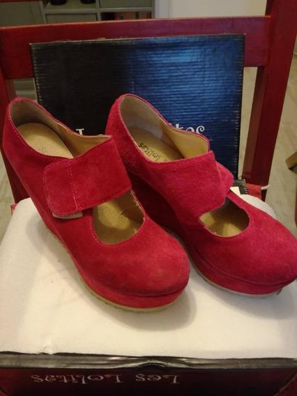 Zapatos Cerrado Tipo Estiletos Gamuzados Fuxias Nro 35 Usado