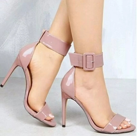 Sandália Clássica Tira Grossa,salto 11cm, Rose -várias Cores