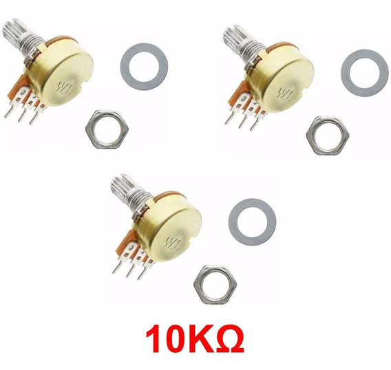 3x Potenciômetro 10k Linear Eixo Estriado 15 Mm Wh148 B10k