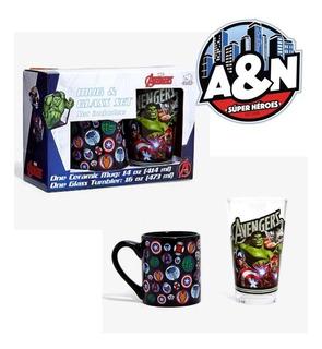 Set Vaso Y Taza Marvel Avengers Original