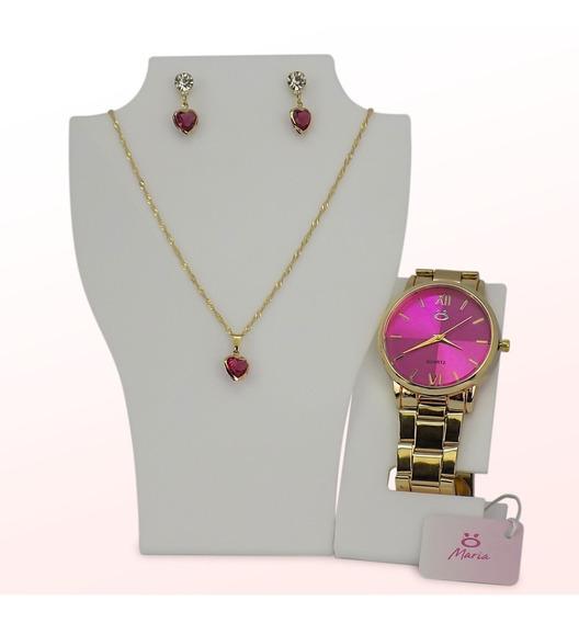 Kit Relógio Feminino Dourado Original E Colar/brinco