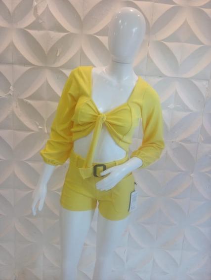 Conjuntos Macaquinhos Feminino Short Cropped Top Luxo Barato