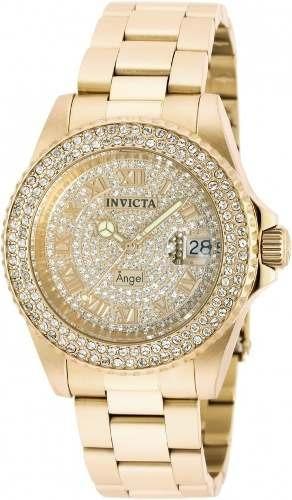 Relógio Invicta Angel Swiss Feminino 90255 Banhado Ouro 18k