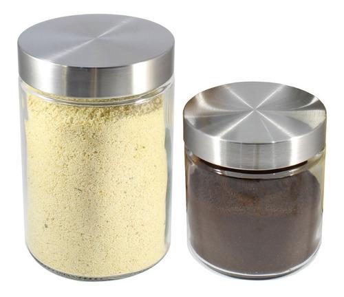 Imagem 1 de 4 de 6 Potes Vidro Liso 12/17 Cm Tampa Inox Com Rosca Mantimento