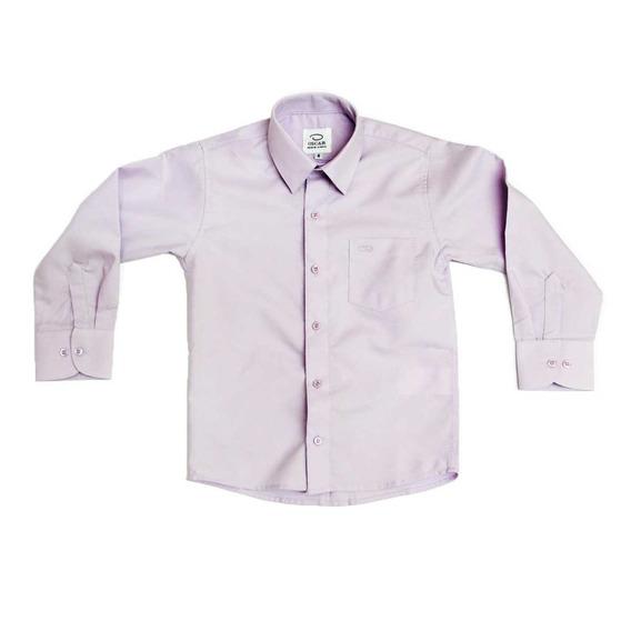 Camisa Manga Larga Vestir Oscar Lavanda Con Tirantes Y Moño