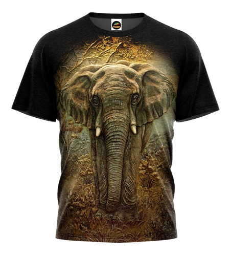 Camiseta 3d Elefante Animais Desenho Florido Camisa Blusa 01