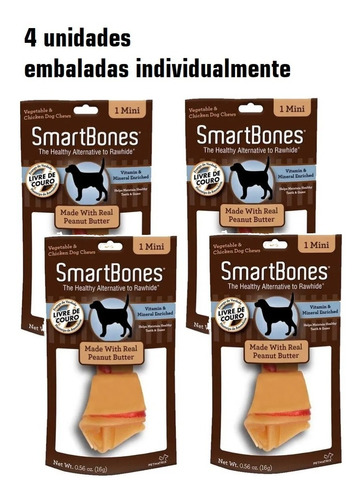 Imagem 1 de 2 de Kit Petisco Para Cães Smartbones Mini 4un Individuais De 16g
