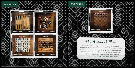 Ajedrez - Backgammon - Sierra Leona - Hojita + Block Mint