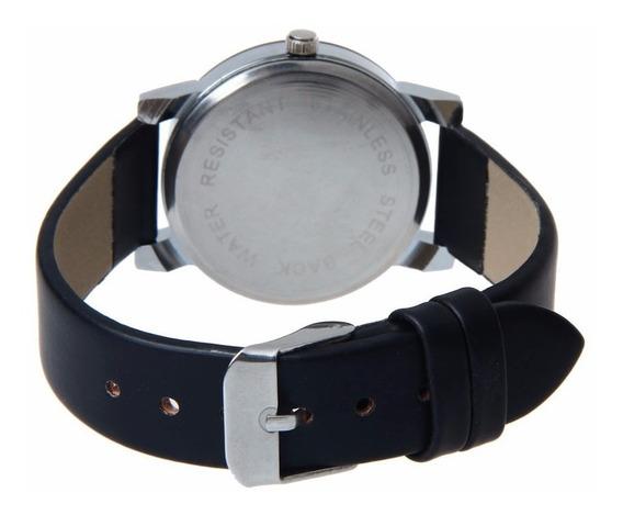 Relógio Masculino Pulseira Em Couro Pu Mostrador Vidro Preto