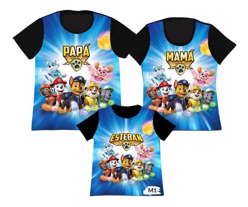 Camiseta Set 3 Familia Mama Papa Hijo Paw Patrol Cachorros