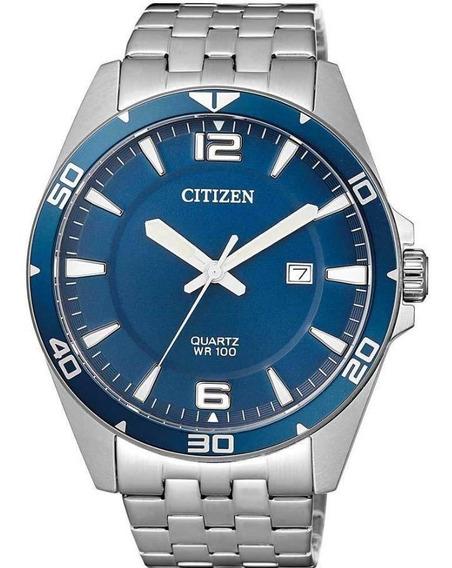 Relógio Citizen Masculino Prata Tz31463f Mostrador Azul