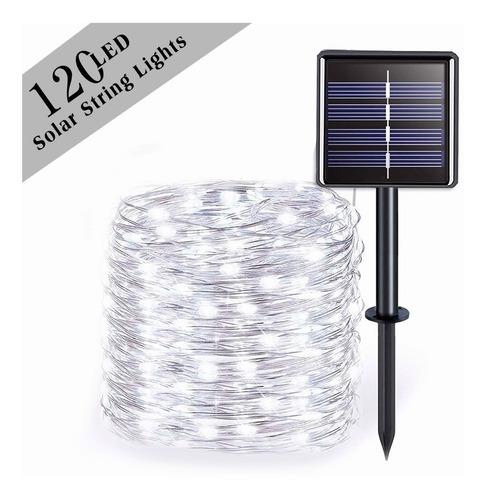 Imagen 1 de 7 de Guirnaldas Luces Solares Exterior 12m 120 Led Impermeable