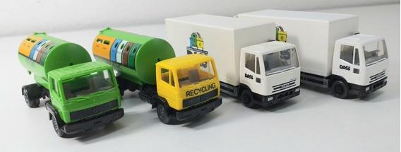 4 Caminhões Miniaturas Wiking Carga E Reciclagem Usados Ho