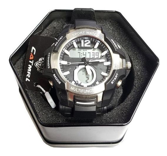 Relógio Tático Catmrl Sport Militar Preto/prata