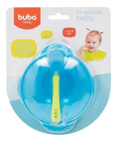 Prato Infantil Bowl Com Tampa E Colher Azul Buba Baby 5230