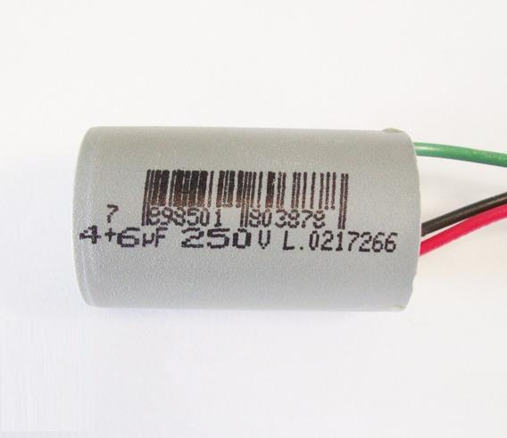 Capacitor Duplo 4+6 Permanente Fio P/ Ventilador