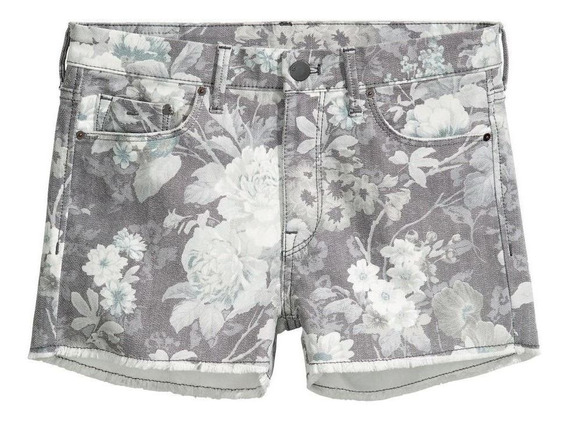 Shorts De Jean Diseño De Flores H&m Nuevos
