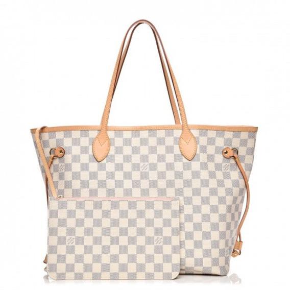 Neverfull Gm Damier Azur Couro Legítimo Louis Vuitton Premium Top Com Código Série Acompanha Pochete E Dust Bag 24 Hr