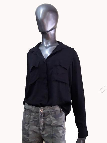 Camisa Marie Negra Con Bolsillos Mangas Largas Rayón