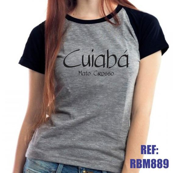Camiseta Raglan Baby Look Cuiabá Mato Grosso Mescla
