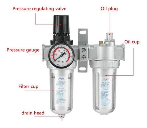 VIFERR Herramienta de Separaci/ón de Aire del Compresor Filtro Regulador de la Humedad Atrapar el Agua M/ás Limpia para Herramientas de Aire del Sistema SFC300 3//8