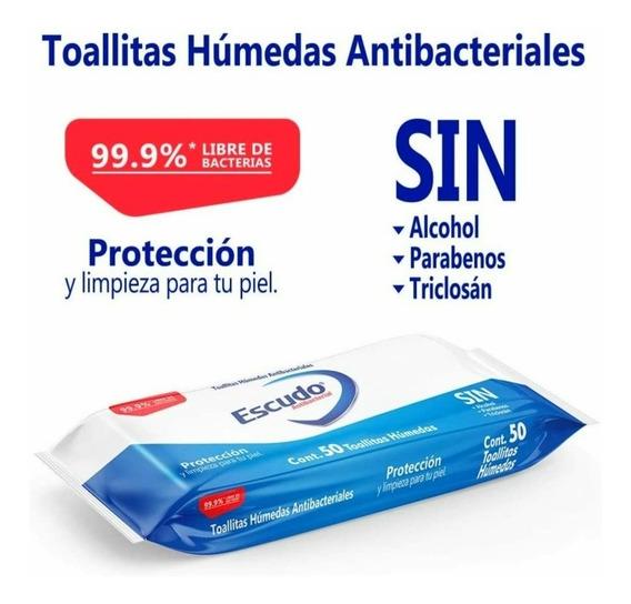 Toallitas Húmedas Escudo Antibact Caja C/36 Paq De 50toallas