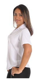 Camisa Blusa Feminina Social Manga Curta Uniforme
