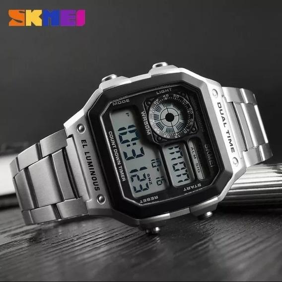 Skmei Retrô Aço Inoxidável Moda Relógios De Pulso Digital