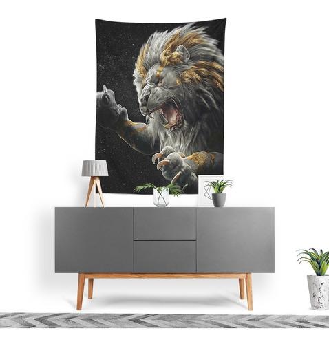 Imagem 1 de 3 de Tecido Decorativo Decoração Tactel Interto Externo Leão Lion
