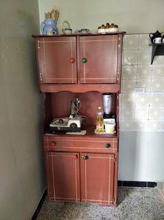 Ceibo Vitrina Gabinete De Cocina Madera Mdf + Combo Adornos