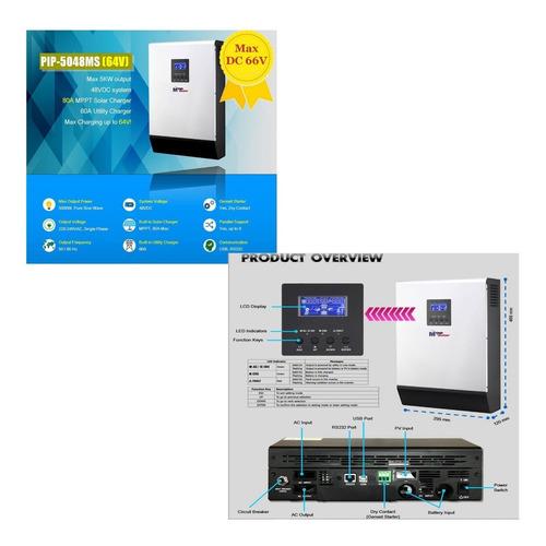 Inversor Cargador 5000w Soporta Pico 10000w 48v Mppt 80a
