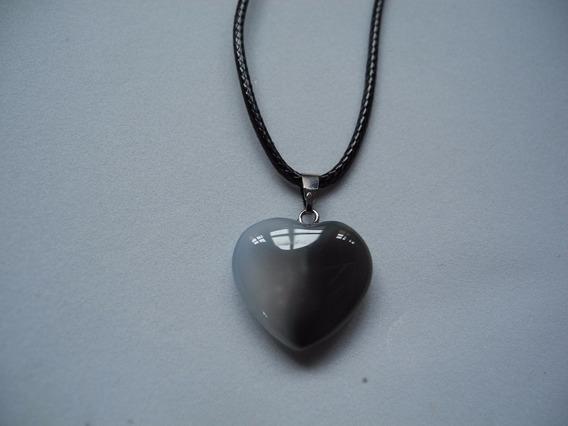 Colar Coração Pedra Natural Cordão Preto Gargantilha