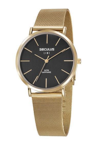 Relógio Seculus Masculino 35009gpsvda2 Slin
