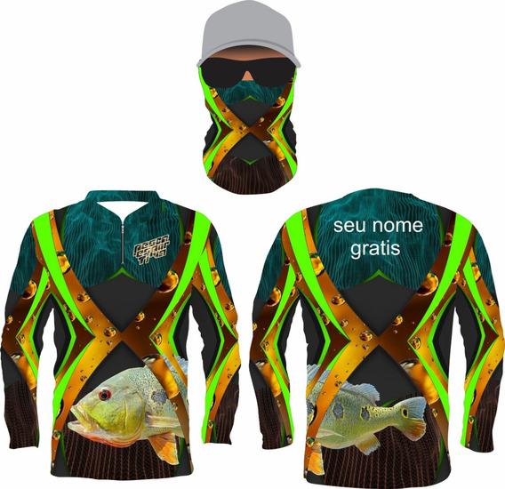 Camisa De Pesca Uv R.06 Tucunare + Bandana + Nome Gratis