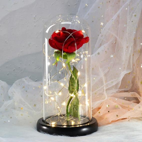 Luminária Rosa Eterna Flor Bela Fera 22cm Cúpula Vidro Luz