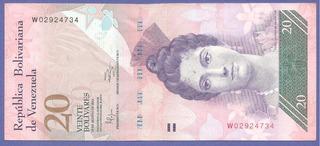 Billete De 20 Bs Octubre 2014 W8 Circulado Bs S. 525.000._