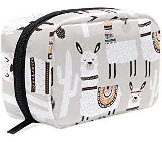 Alaza White Llama Cosmetic Bag Negro Con Cremallera Bolsa De