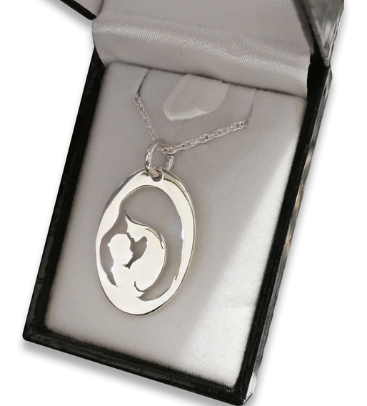 Colgante Madre Con Su Bebe, En Plata Fina 010
