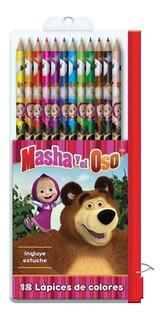 Set 12 Lapices De Colores Masha Y El Oso En Estuche